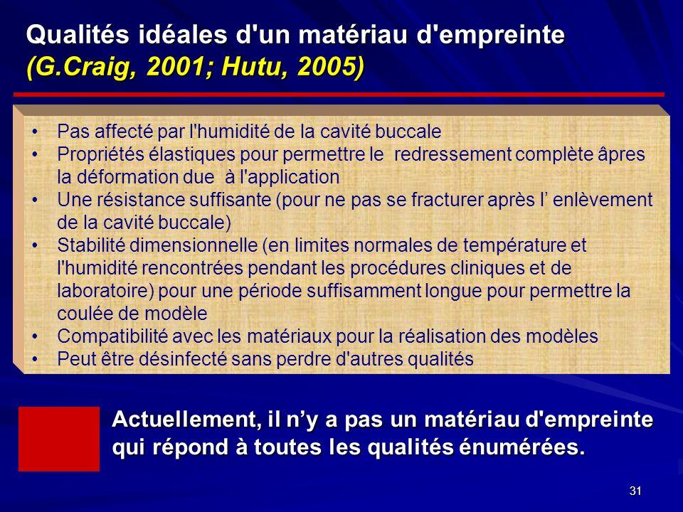 Qualités idéales d un matériau d empreinte (G.Craig, 2001; Hutu, 2005)