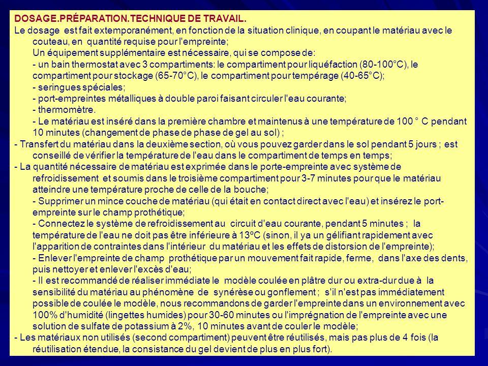 DOSAGE.PRÉPARATION.TECHNIQUE DE TRAVAIL.