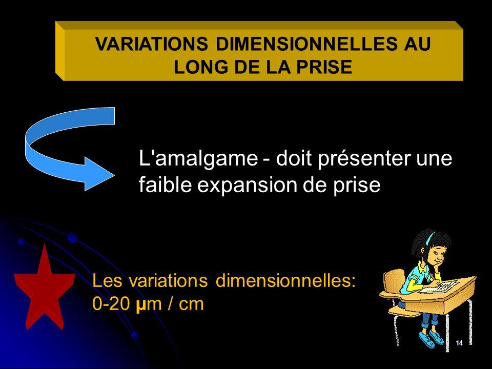 VARIATIONS DIMENSIONNELLES AU LONG DE LA PRISE