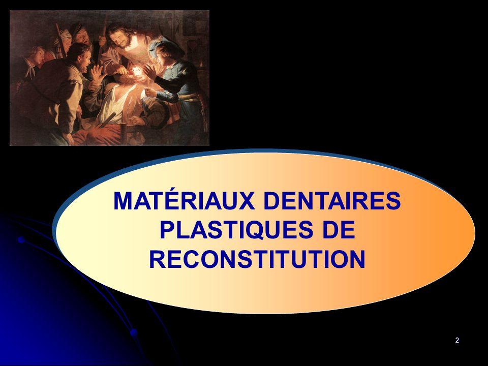 MATÉRIAUX DENTAIRES PLASTIQUES DE RECONSTITUTION