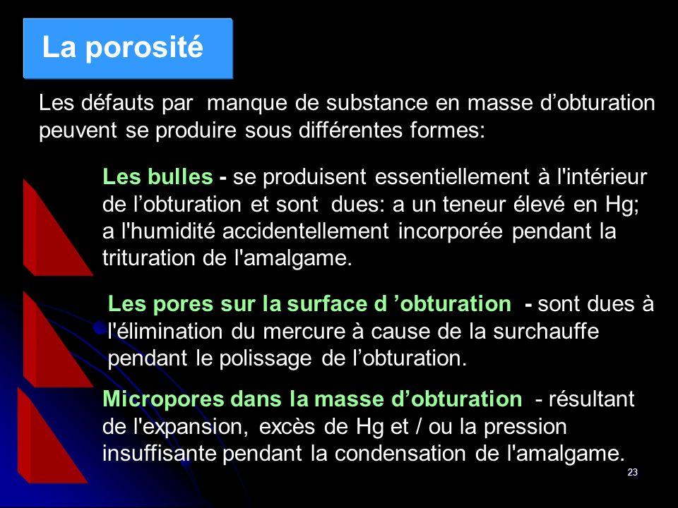La porosité Les défauts par manque de substance en masse d'obturation peuvent se produire sous différentes formes: