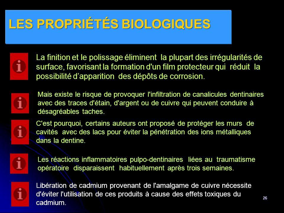 LES PROPRIÉTÉS BIOLOGIQUES