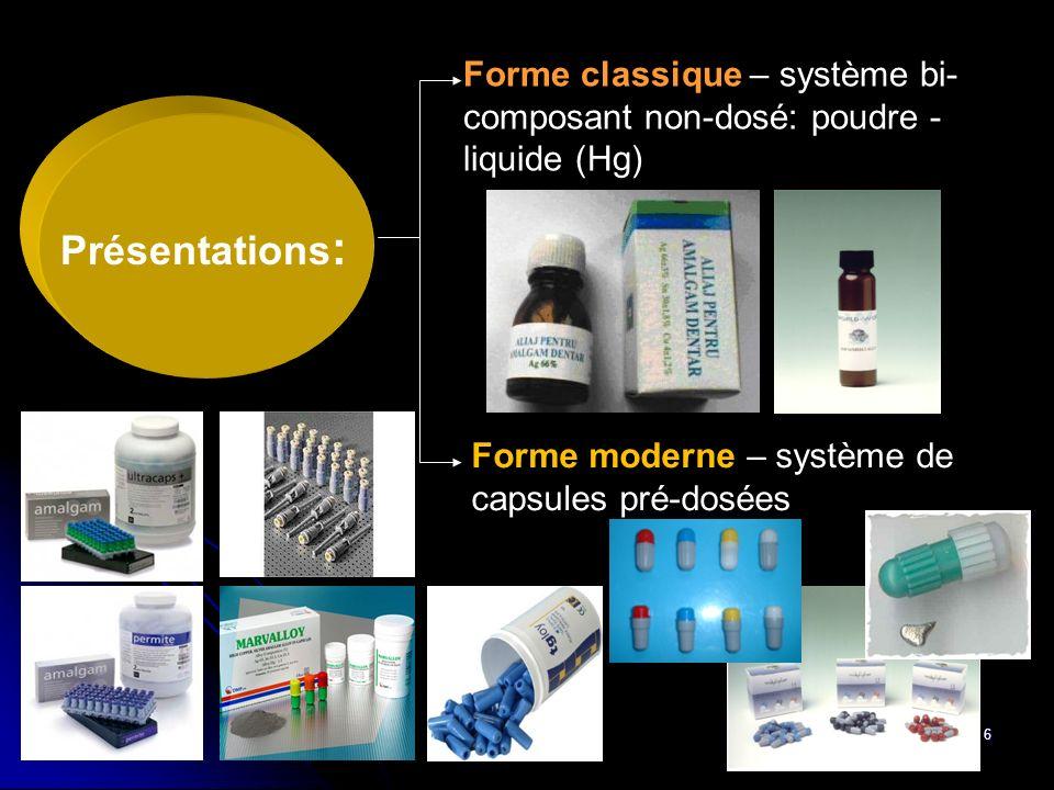 Forme classique – système bi-composant non-dosé: poudre - liquide (Hg)