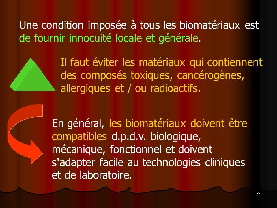 Une condition imposée à tous les biomatériaux est de fournir innocuité locale et générale.