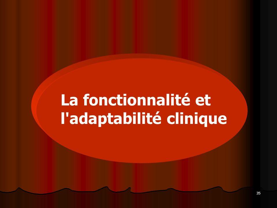 La fonctionnalité et l adaptabilité clinique