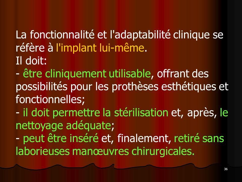 La fonctionnalité et l adaptabilité clinique se réfère à l implant lui-même. Il doit: