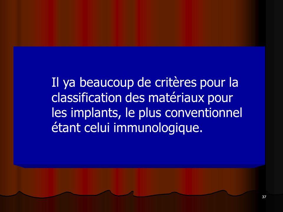 Il ya beaucoup de critères pour la classification des matériaux pour les implants, le plus conventionnel étant celui immunologique.
