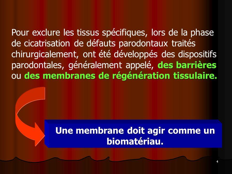 Une membrane doit agir comme un biomatériau.