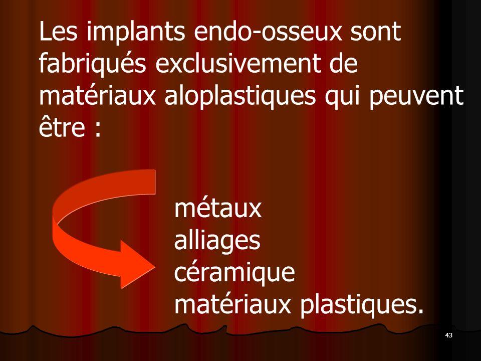 Les implants endo-osseux sont fabriqués exclusivement de matériaux aloplastiques qui peuvent être :