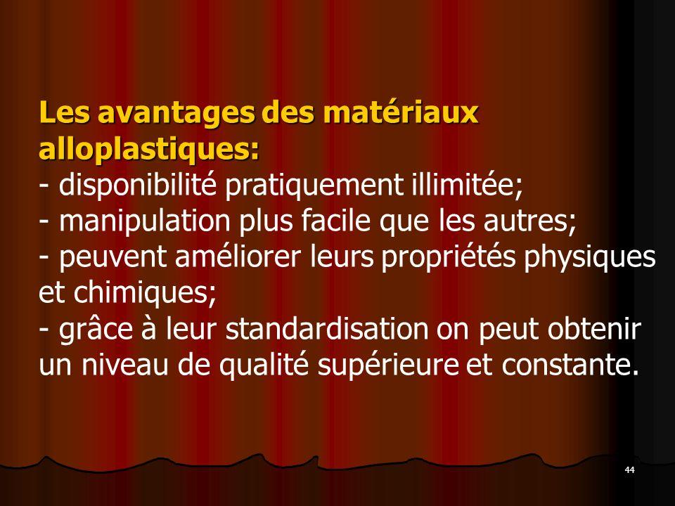 Les avantages des matériaux alloplastiques: