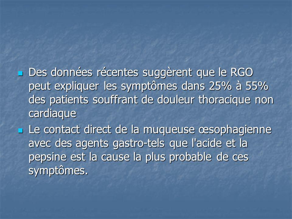 Des données récentes suggèrent que le RGO peut expliquer les symptômes dans 25% à 55% des patients souffrant de douleur thoracique non cardiaque