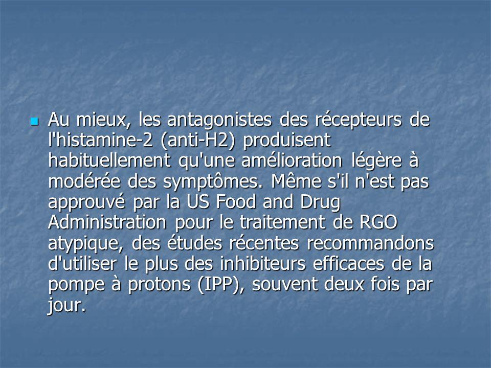 Au mieux, les antagonistes des récepteurs de l histamine-2 (anti-H2) produisent habituellement qu une amélioration légère à modérée des symptômes.