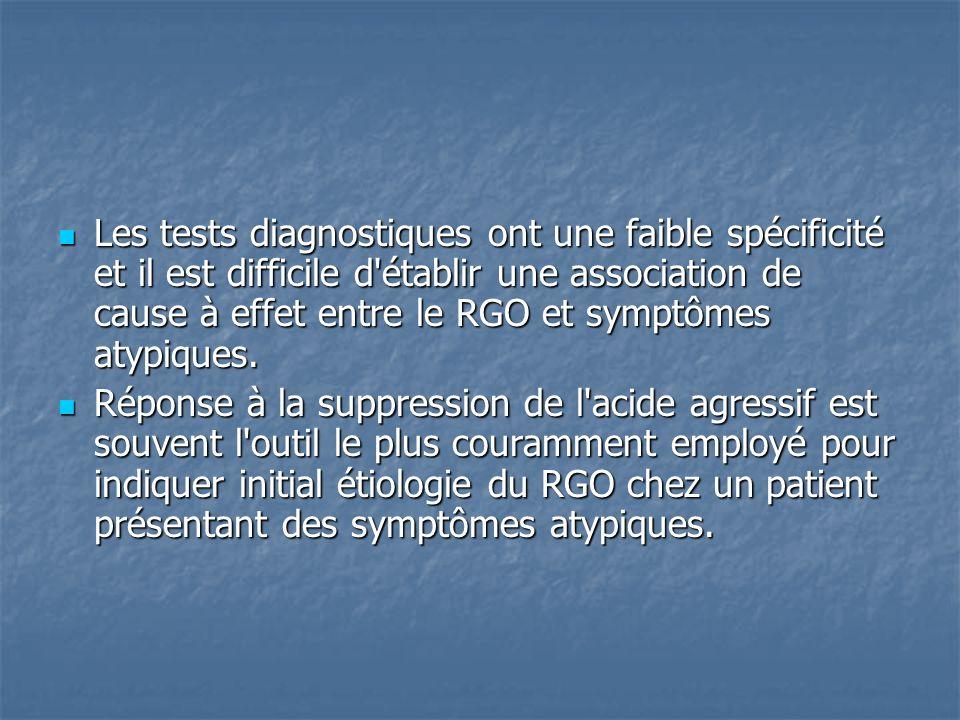 Les tests diagnostiques ont une faible spécificité et il est difficile d établir une association de cause à effet entre le RGO et symptômes atypiques.