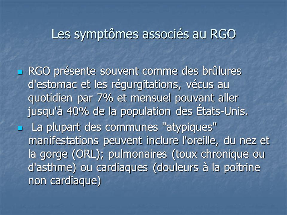 Les symptômes associés au RGO