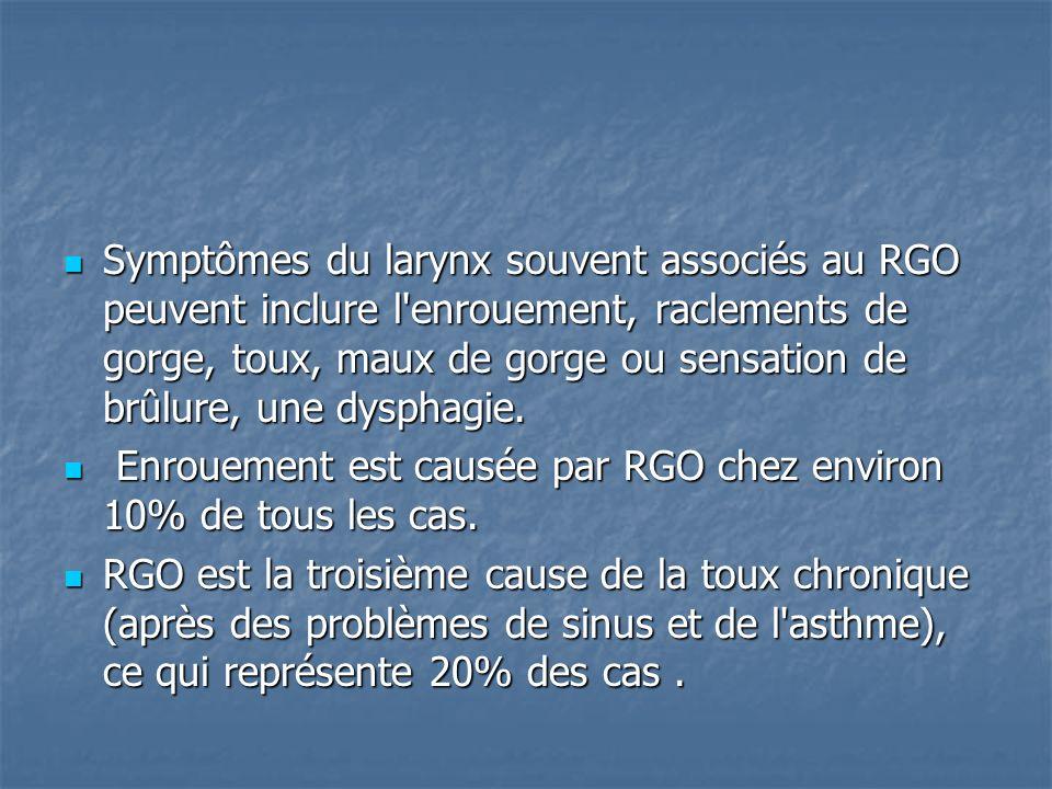 Symptômes du larynx souvent associés au RGO peuvent inclure l enrouement, raclements de gorge, toux, maux de gorge ou sensation de brûlure, une dysphagie.
