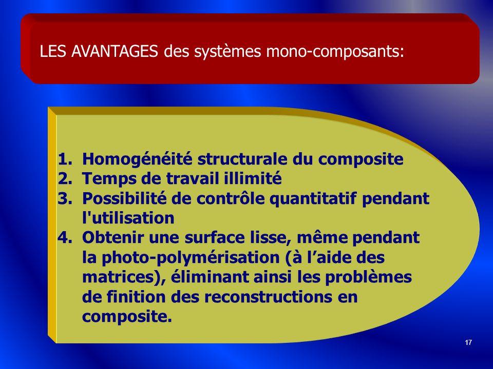 LES AVANTAGES des systèmes mono-composants: