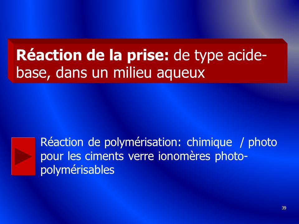 Réaction de la prise: de type acide-base, dans un milieu aqueux