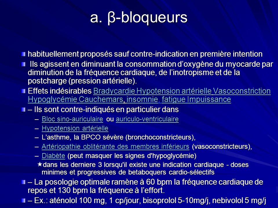 a. β-bloqueurs habituellement proposés sauf contre-indication en première intention.
