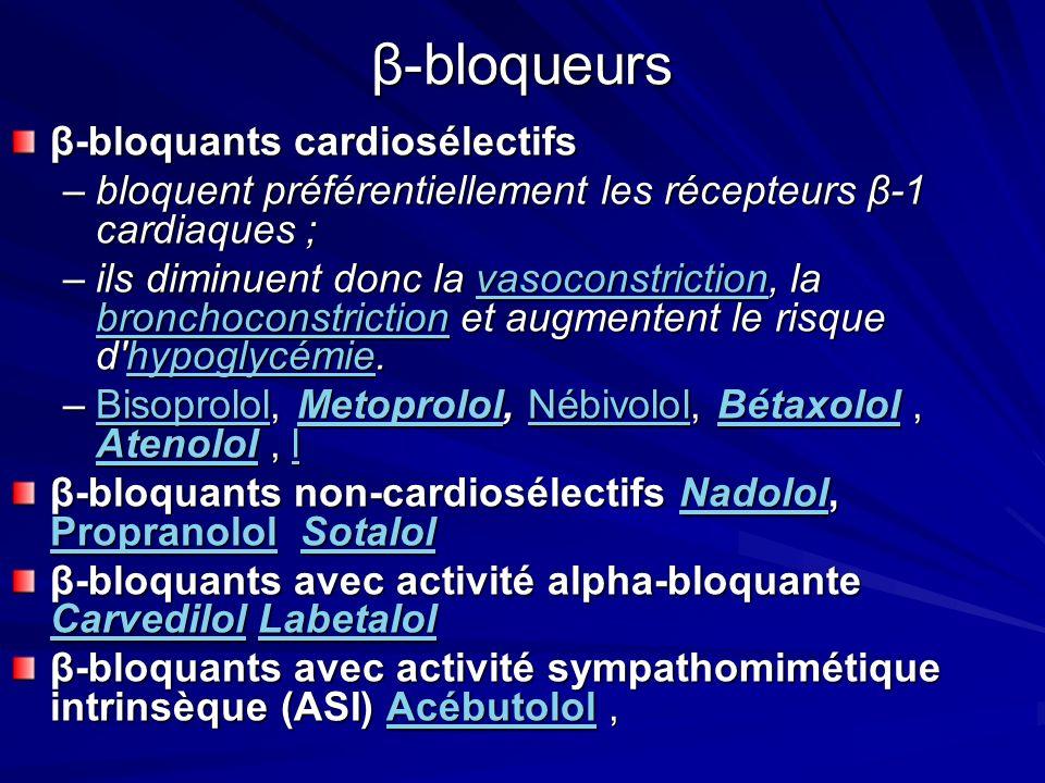 β-bloqueurs β-bloquants cardiosélectifs