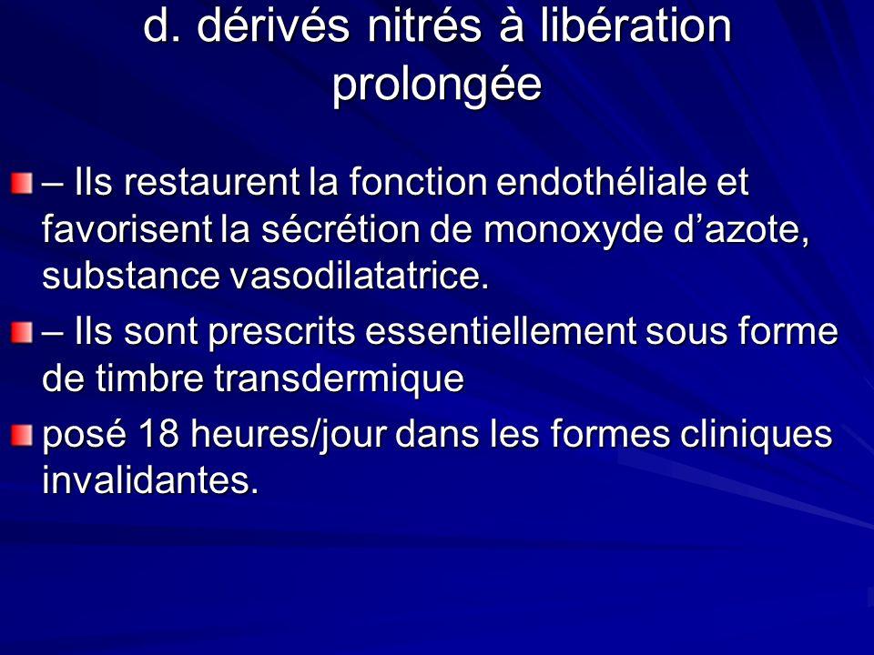 d. dérivés nitrés à libération prolongée