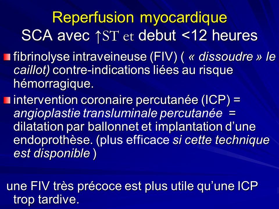 Reperfusion myocardique SCA avec ↑ST et debut <12 heures