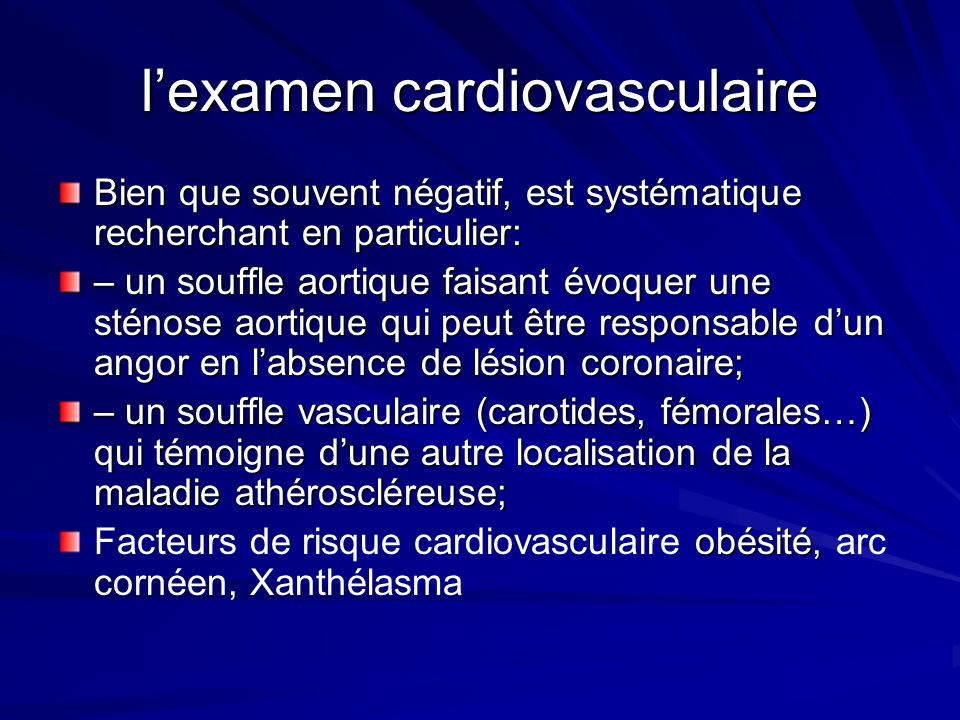l'examen cardiovasculaire