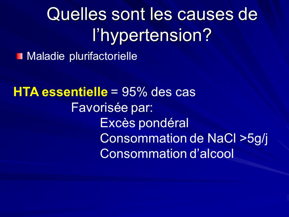 Quelles sont les causes de l'hypertension