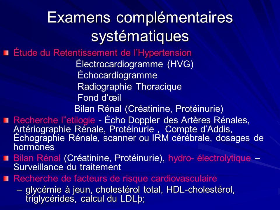 Examens complémentaires systématiques