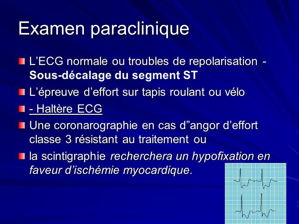 Examen paracliniqueL'ECG normale ou troubles de repolarisation - Sous-décalage du segment ST. L'épreuve d'effort sur tapis roulant ou vélo.