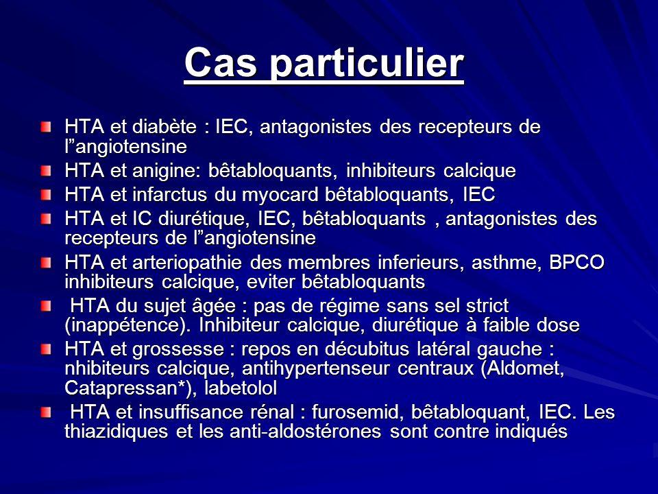 Cas particulier HTA et diabète : IEC, antagonistes des recepteurs de l angiotensine. HTA et anigine: bêtabloquants, inhibiteurs calcique.
