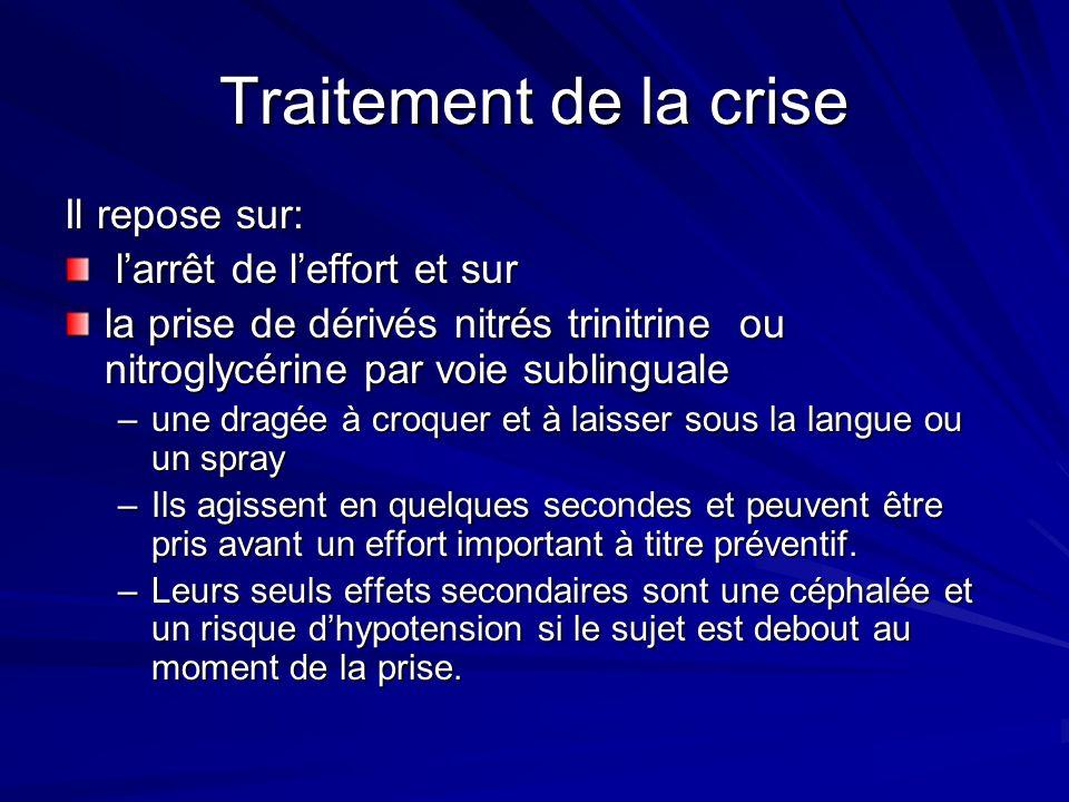 Traitement de la crise Il repose sur: l'arrêt de l'effort et sur