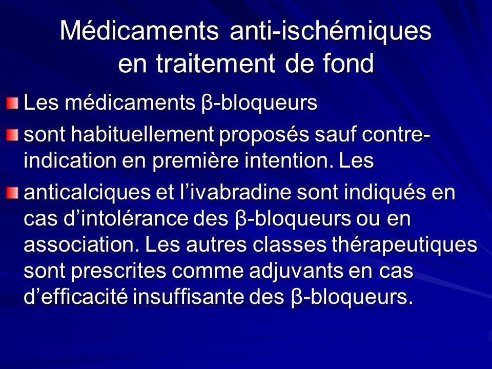 Médicaments anti-ischémiques en traitement de fond