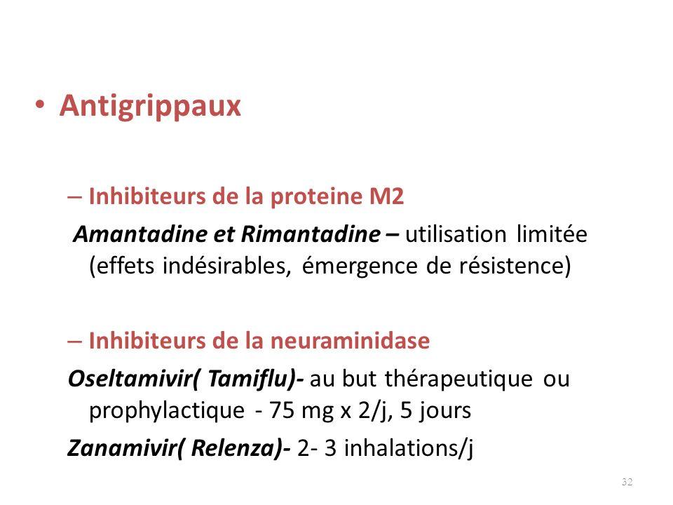 Antigrippaux Inhibiteurs de la proteine M2