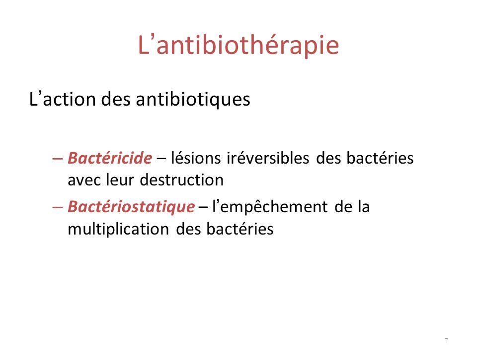 L'antibiothérapie L'action des antibiotiques