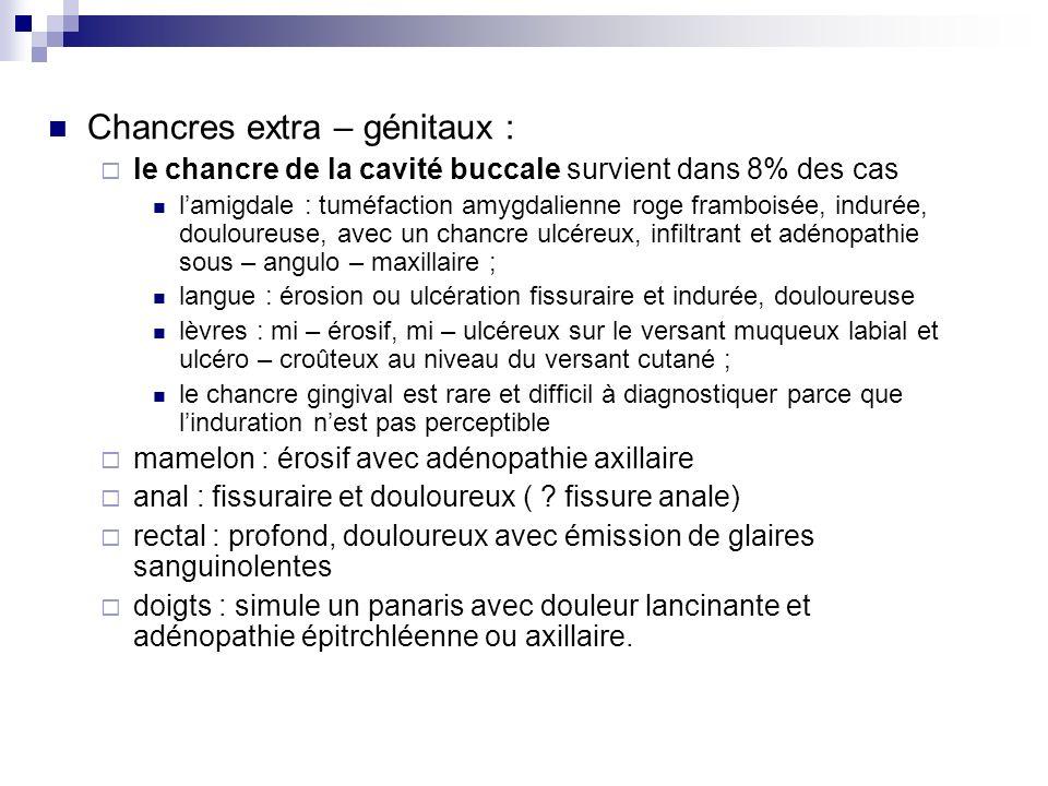 Chancres extra – génitaux :