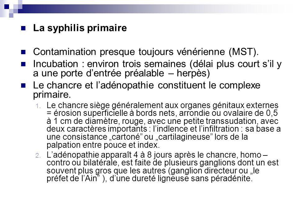 Contamination presque toujours vénérienne (MST).