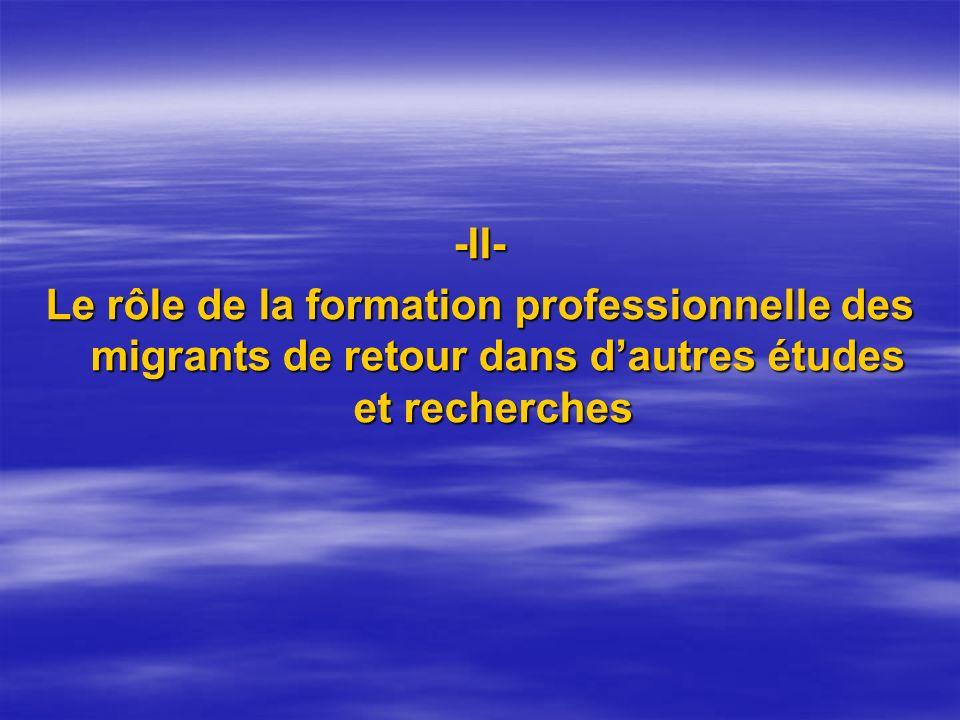 -II- Le rôle de la formation professionnelle des migrants de retour dans d'autres études et recherches