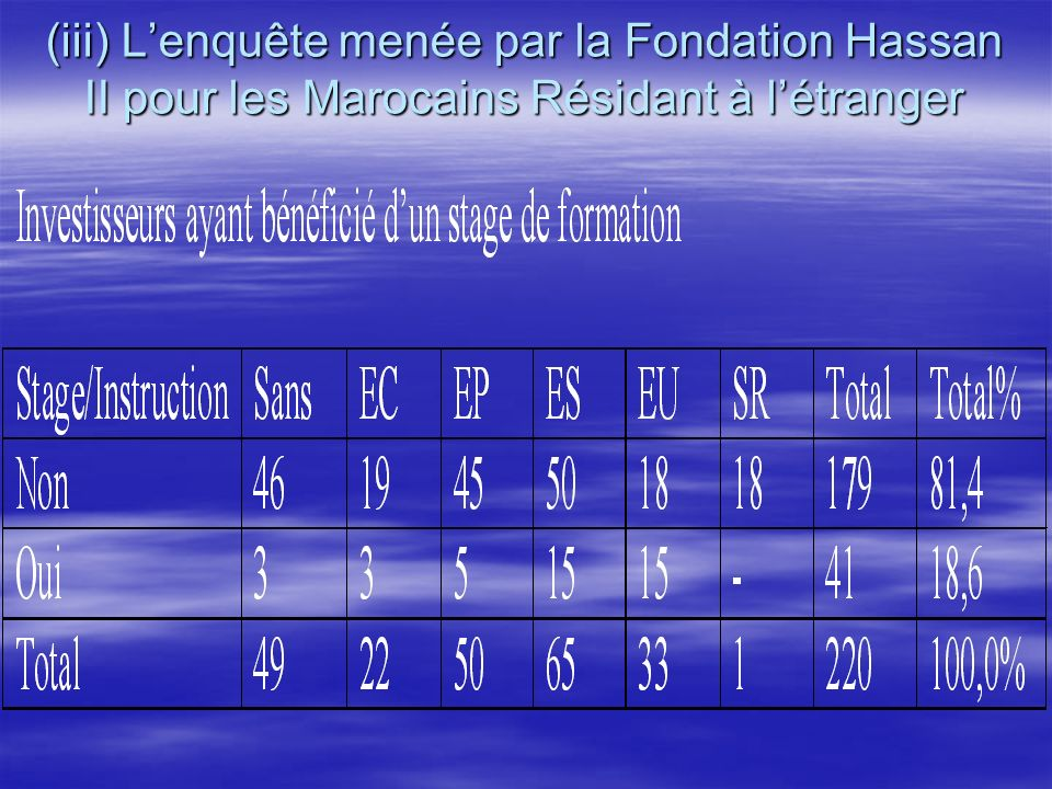 (iii) L'enquête menée par la Fondation Hassan II pour les Marocains Résidant à l'étranger