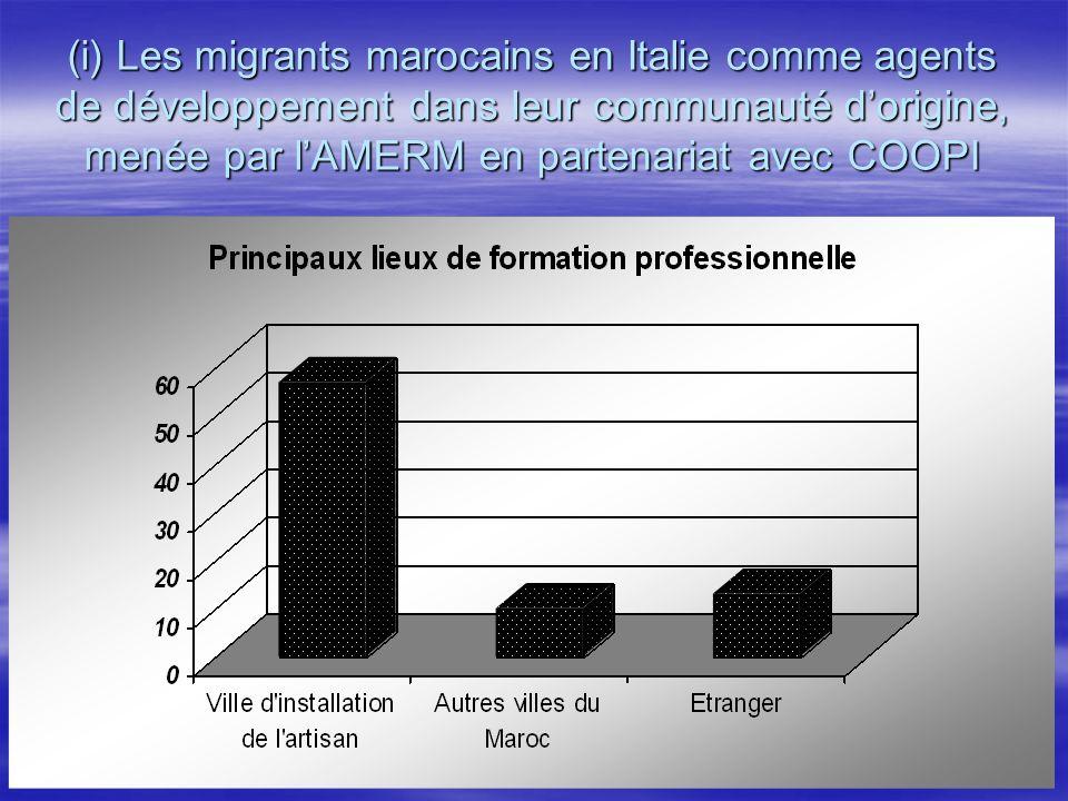 (i) Les migrants marocains en Italie comme agents de développement dans leur communauté d'origine, menée par l'AMERM en partenariat avec COOPI