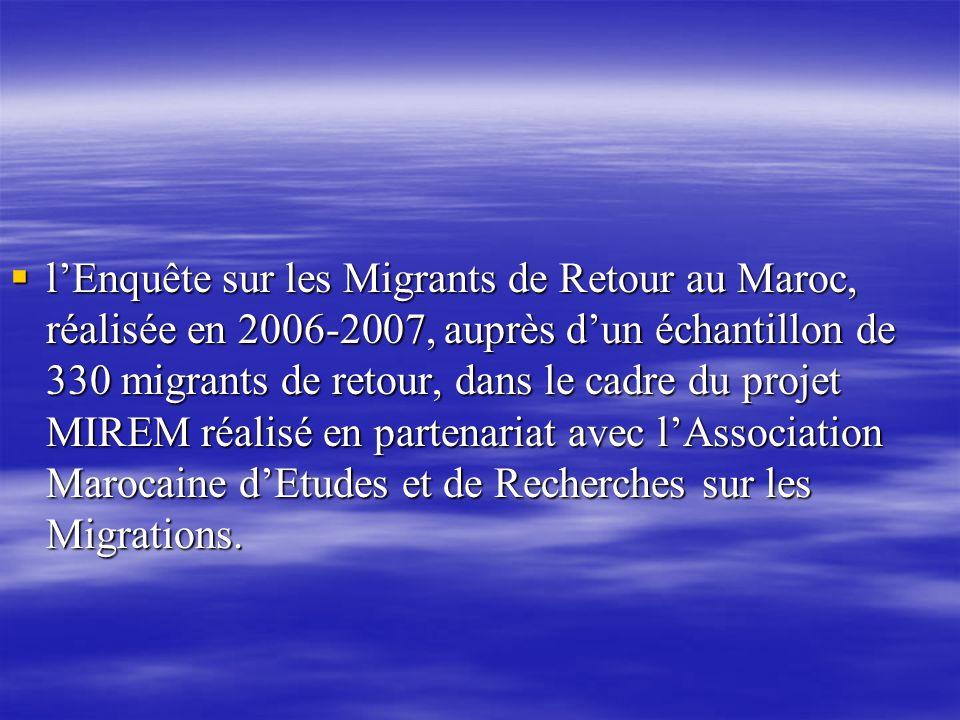l'Enquête sur les Migrants de Retour au Maroc, réalisée en 2006-2007, auprès d'un échantillon de 330 migrants de retour, dans le cadre du projet MIREM réalisé en partenariat avec l'Association Marocaine d'Etudes et de Recherches sur les Migrations.
