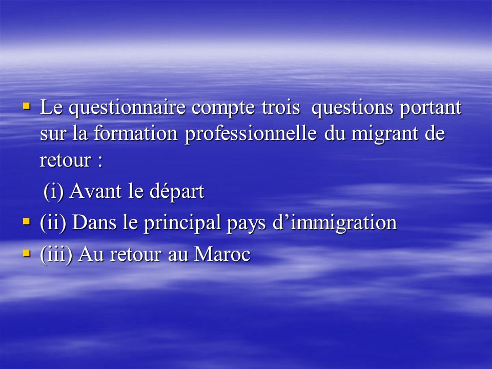 Le questionnaire compte trois questions portant sur la formation professionnelle du migrant de retour :