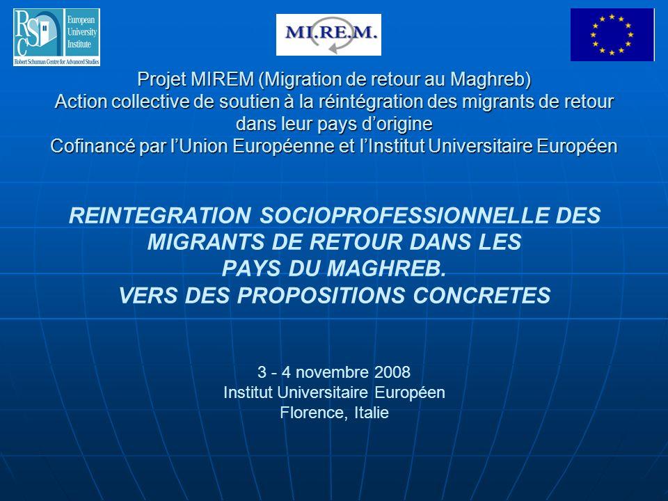 Projet MIREM (Migration de retour au Maghreb) Action collective de soutien à la réintégration des migrants de retour dans leur pays d'origine Cofinancé par l'Union Européenne et l'Institut Universitaire Européen REINTEGRATION SOCIOPROFESSIONNELLE DES MIGRANTS DE RETOUR DANS LES PAYS DU MAGHREB.