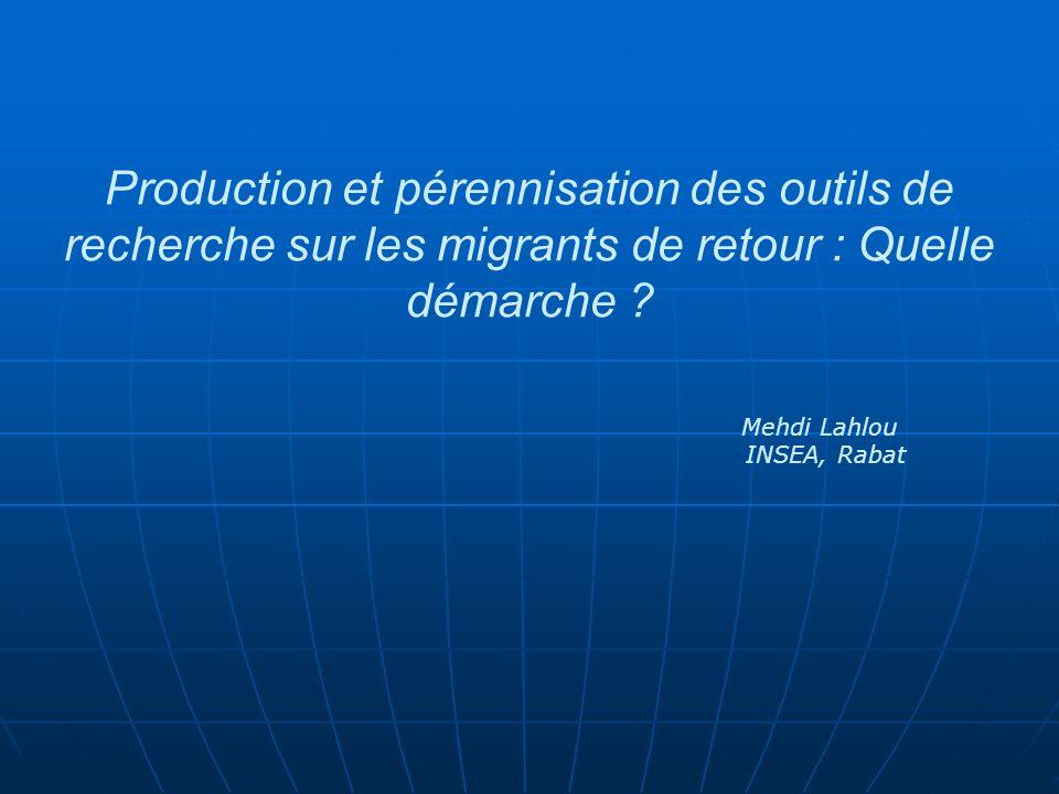 Production et pérennisation des outils de recherche sur les migrants de retour : Quelle démarche