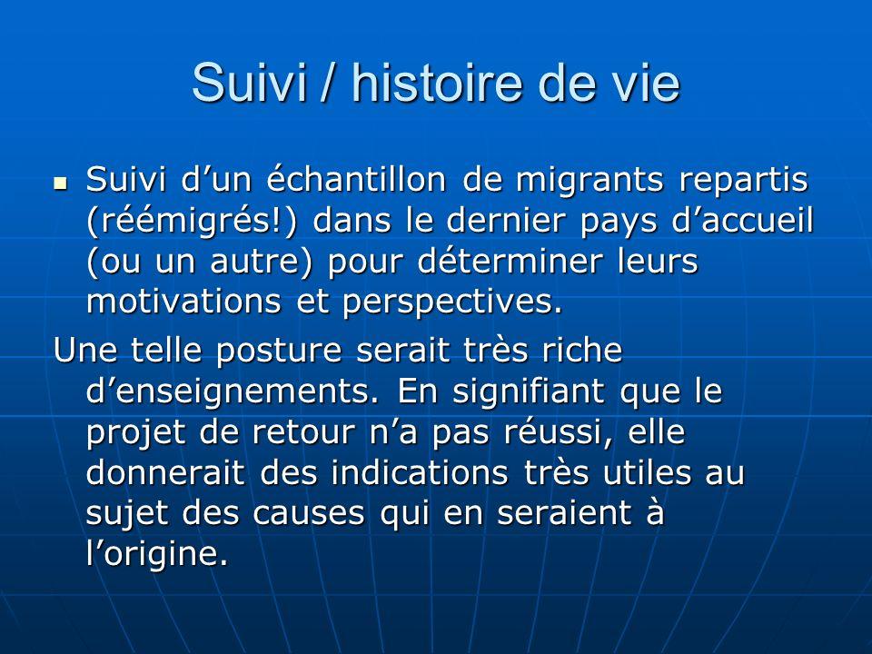 Suivi / histoire de vie