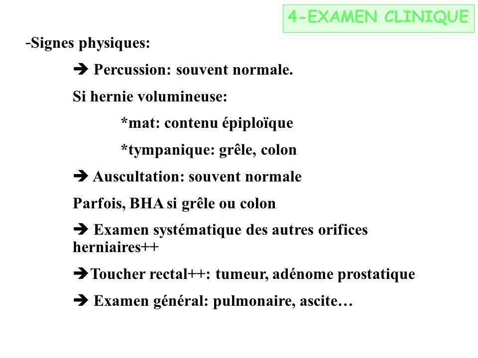4-EXAMEN CLINIQUE -Signes physiques:  Percussion: souvent normale. Si hernie volumineuse: *mat: contenu épiploïque.