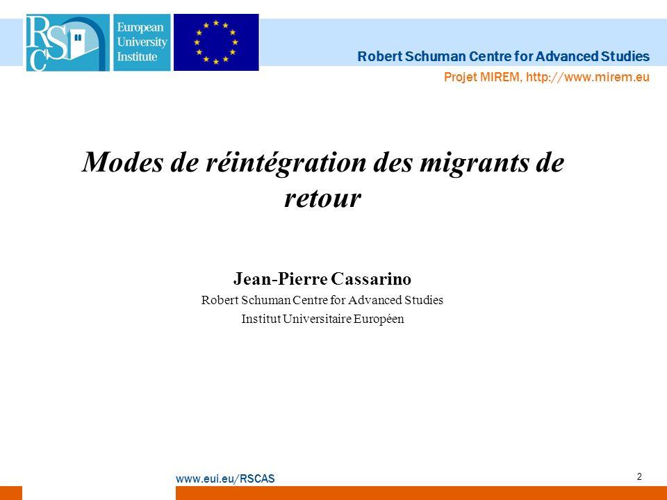Modes de réintégration des migrants de retour Jean-Pierre Cassarino