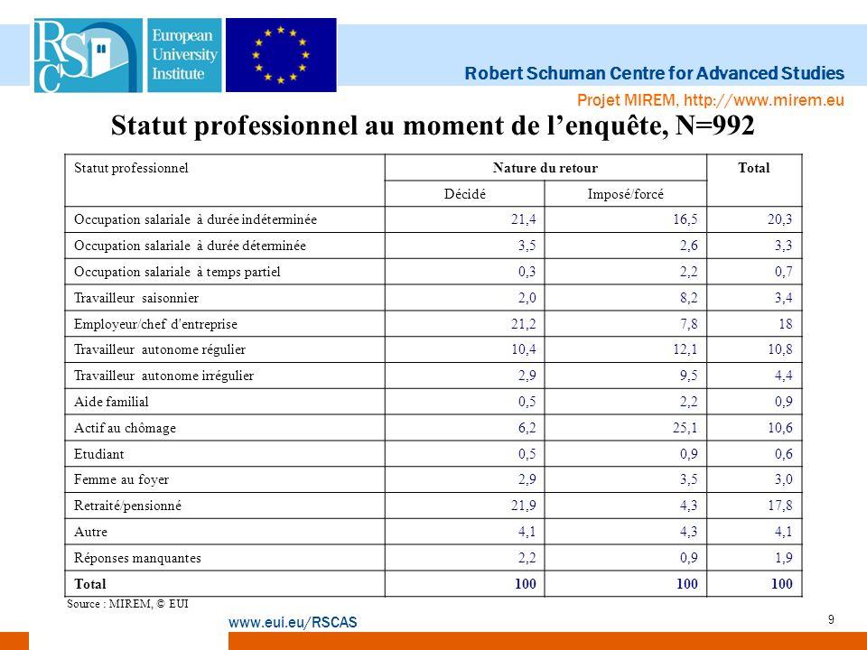 Statut professionnel au moment de l'enquête, N=992