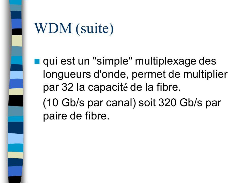 WDM (suite) qui est un simple multiplexage des longueurs d onde, permet de multiplier par 32 la capacité de la fibre.