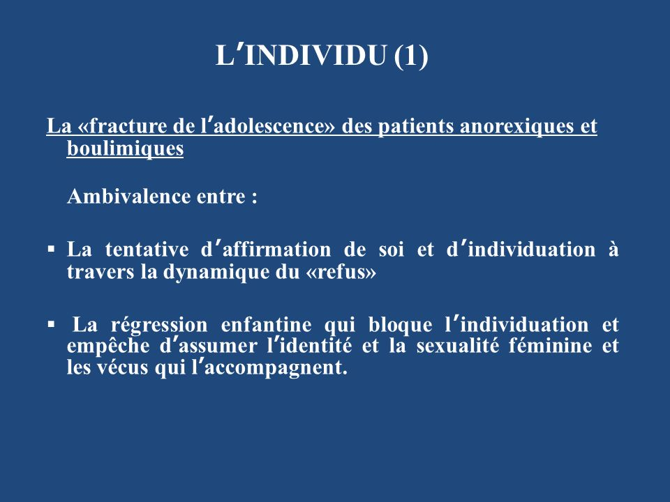 L'INDIVIDU (1) La «fracture de l'adolescence» des patients anorexiques et boulimiques. Ambivalence entre :