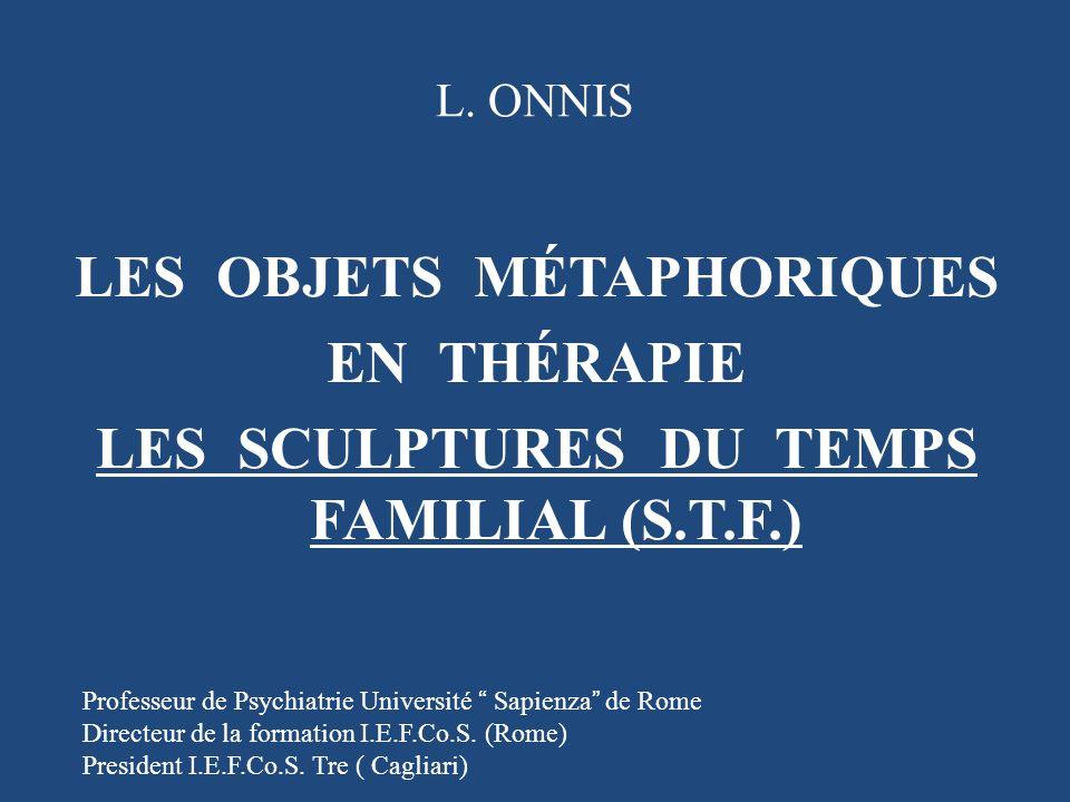 L. ONNIS LES OBJETS MÉTAPHORIQUES EN THÉRAPIE LES SCULPTURES DU TEMPS FAMILIAL (S.T.F.) Professeur de Psychiatrie Université Sapienza de Rome.
